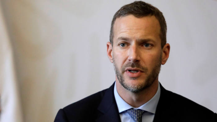 Adam S. Boehler, CEO of the U.S.Overseas Private Investment Corporation (OPIC), speaks during an event with Mexico's Foreign Minister Marcelo Ebrard (no pictured) in Mexico City, Mexico November 8, 2019. REUTERS/Luis Cortes - RC277D9GH41W