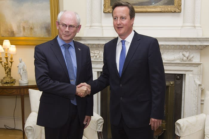 Cameron with EC president Herman Van Rompuy at Downing Street on June 23 2014. The British PM reiterated his objections to Jean-Claude Juncker becoming head of the commission; the meeting lasted little more than half an hour