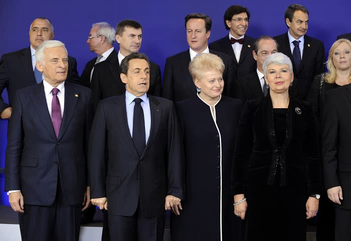 EU leaders at the end of the December 2011 summit, where it became apparent that the UK and the EU were on divergent paths. However, Cameron's isolated stance in Brussels played well in the UK