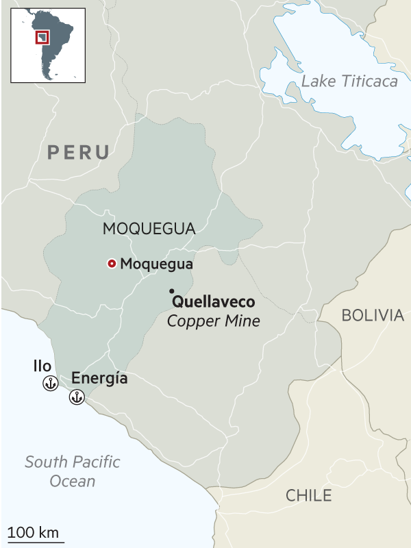 Map showing the location of the Quellaveco copper mine in Peru
