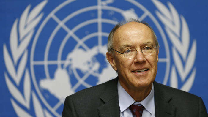 Director-General of World Intellectual Property Organization (WIPO) Francis Gurry smiles during a news conference at the United Nations European headquarters in Geneva December 9, 2013. REUTERS/Denis Balibouse (SWITZERLAND - Tags: POLITICS HEADSHOT) - GM1E9C91JG601