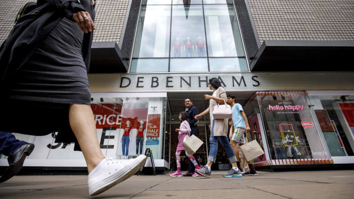 (FILES) In this file photo taken on June 19, 2018 a Debenhams shop in Oxford Street, central London on June 19, 2018. - British department store chain Debenhams has entered administration and been taken over by its lenders, it said on April 9, 2019 amid tough times in the UK retail sector. (Photo by Tolga Akmen / various sources / AFP)TOLGA AKMEN/AFP/Getty Images