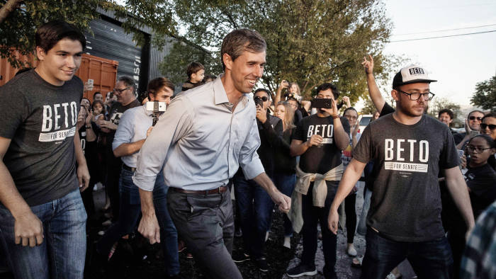 US Rep. Beto O'Rourke (D-TX) takes the stage for a Senate race campaign rally in Dallas, Texas, on October 20, 2018. - O'Rourke is running against incumbent Sen. Ted Cruz (R-TX) in the upcoming midterm elections. (Photo by Loren ELLIOTT / AFP)LOREN ELLIOTT/AFP/Getty Images