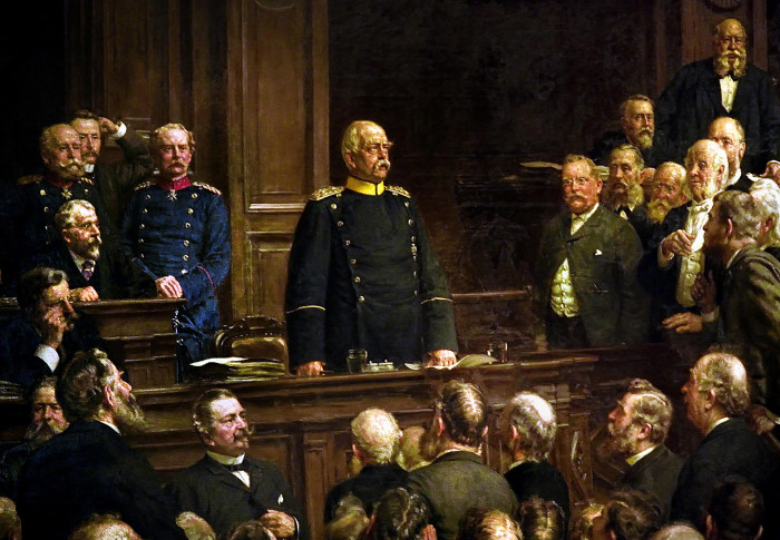 GD7EXM Furst Otto von Bismarck (1815-1898) in der Reichstagssitzung vom 6. Februar 1888 - Prince Otto von Bismarck (1815-1898) in the Reichstag session of February 6, 1888 Berlin Painter : Henseler, Ernst 1852-1940 Germany