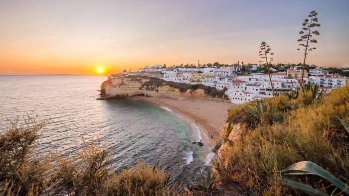 Sunset at Algarve coast, Carvoeiro, Portugal
