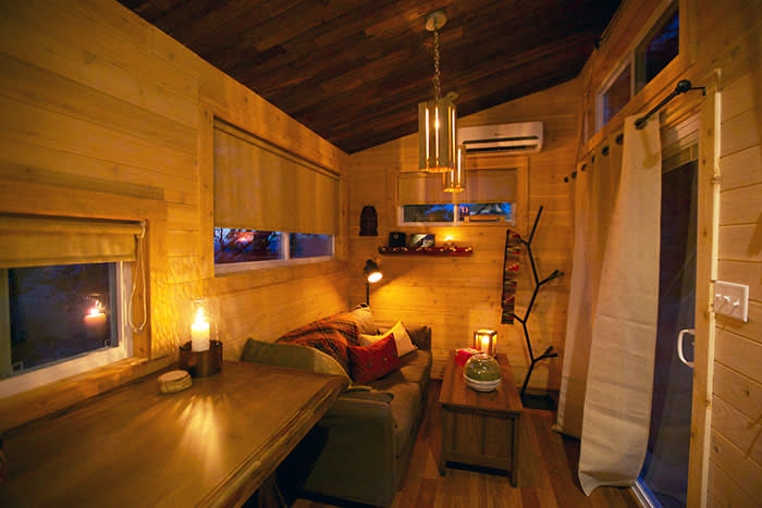 An interior featured in the US reality TV programme 'Tiny House Nation': living big in a tiny home