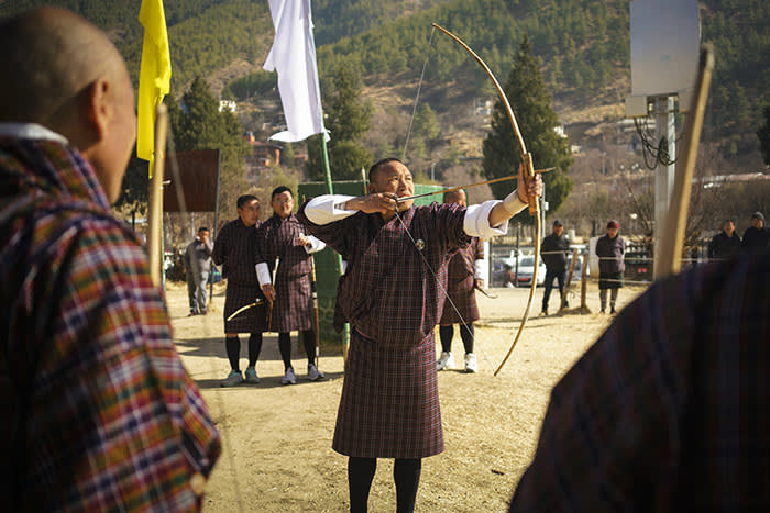 Archery is Bhutan's national sport and is widely practised