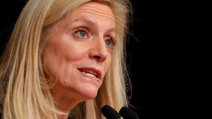 FILE PHOTO: Federal Reserve Board Governor Lael Brainard speaks at the John F. Kennedy School of Government at Harvard University in Cambridge, Massachusetts, U.S., March 1, 2017. REUTERS/Brian Snyder/File Photo