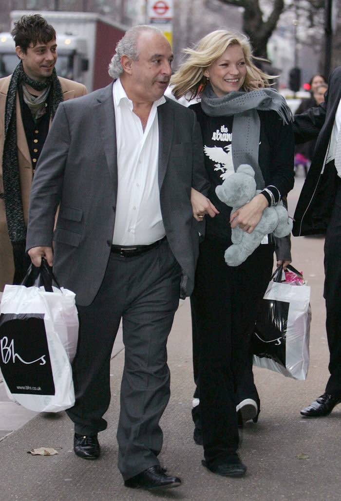 Philip Green and supermodel Kate Moss leave the BHS headquarters in London in 2008