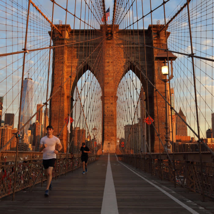 It's a steep rise on to the Brooklyn Bridge but the views are spectacular