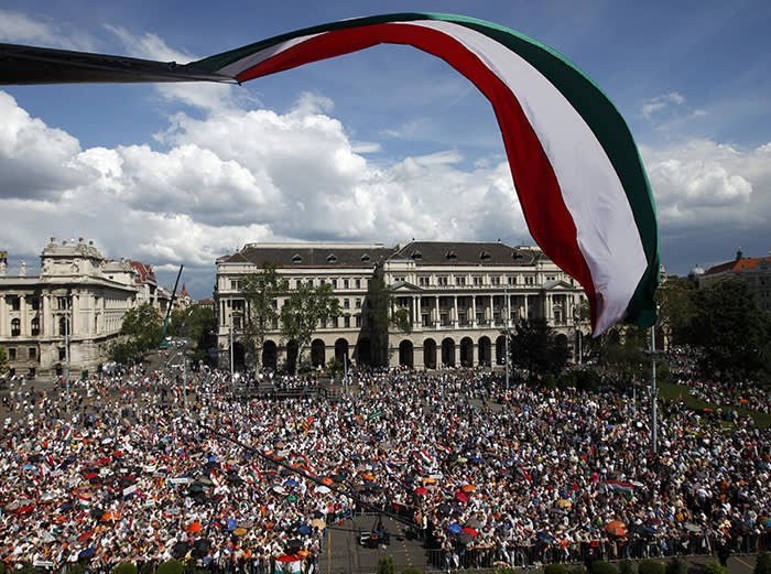 Supporters of the Fidesz party celebrate the swearing in of Orban as prime minister in Budapest on May 29 2010. Orban is now the longest-serving leader in the EU after German chancellor Angela Merkel