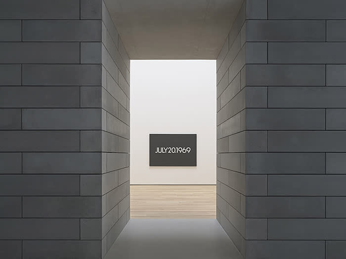 View into installation On Kawara, Moon Landing (detail), 1969, from Today series (1966–2013) acrylic on canvas three panels, each 61 x 89 inches (155 x 226 cm) © One Million Years Foundation Photo: Ron Amstutz Courtesy: Glenstone Museum