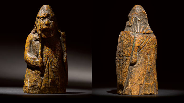 A 13th-century walrus-ivory 'warder' that has resurfaced on to the market two centuries after the Lewis chessmen were discovered