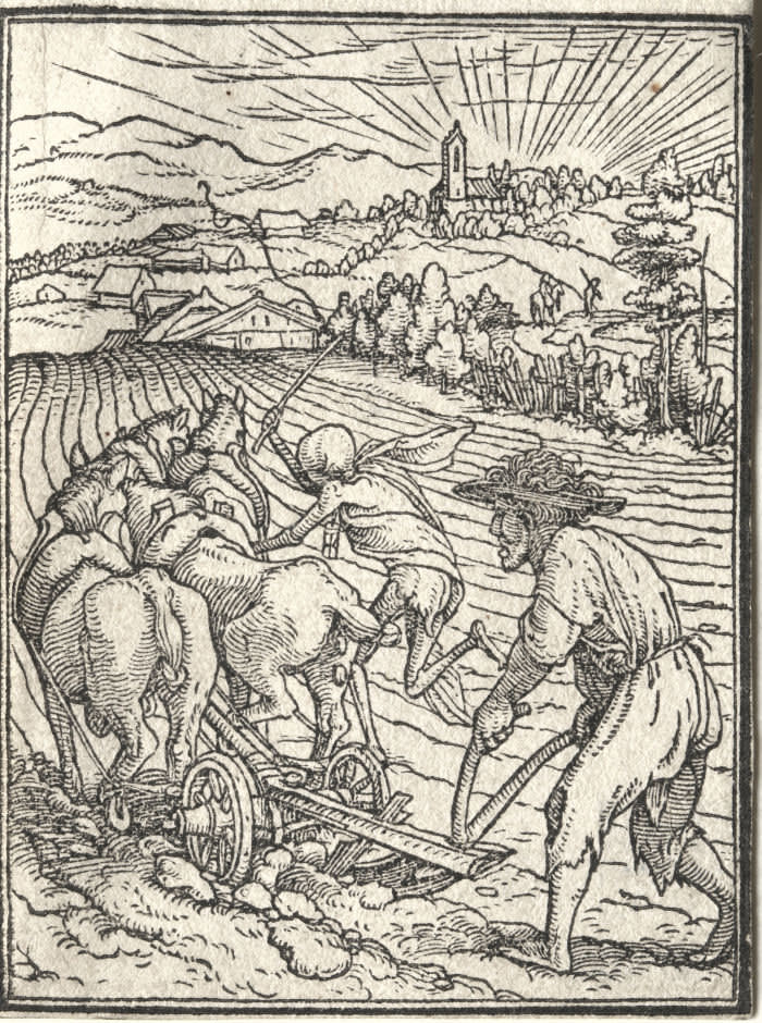 Woodcuts from Hans Holbein's 'Dance of Death' (1524-26): 'The Ploughman' ...