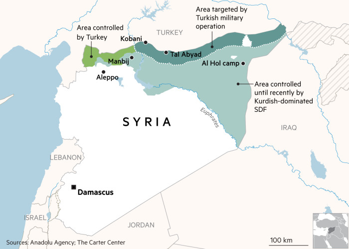 Map showing current situation in Turkey and Syria