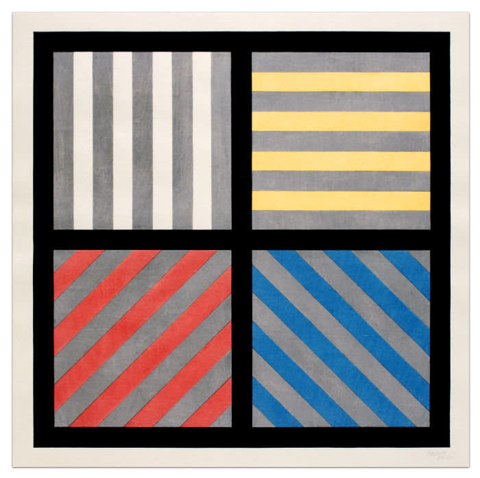 'Lines in Four Directions, with Alternating Color and Gray Bands' (1993) by Sol LeWitt