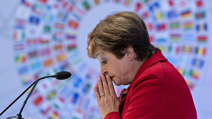 Kristalina Georgieva, managing director of the International Monetary Fund (IMF), pauses while speaking ahead of the IMF and World Bank Group Annual Meetings in Washington, D.C., U.S., on Tuesday, Oct. 8, 2019. Georgieva, in her first major address as head of the IMF, painted a downbeat picture of the world economy and said a more severe slowdown could require governments to coordinate fiscal-stimulus measures. Photographer: Andrew Harrer/Bloomberg