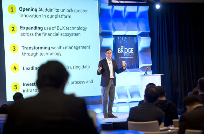Robert Goldstein, chief operating officer of BlackRock Financial Management Inc., speaks during the Bridge Forum conference in San Francisco, California, U.S., on Wednesday, April 17, 2019. The event brings together leaders in finance and technology from Asia and Silicon Valley to connect and share insights. Photographer: David Paul Morris/Bloomberg