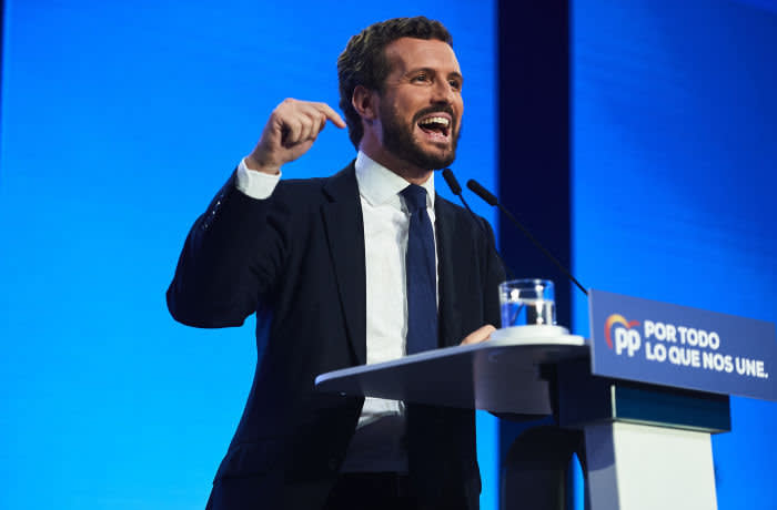 SEVILLE, SPAIN - OCTOBER 31: President for Partido Popular (People's Party) and candidate in Spain's general election, Pablo Casado attends a party meeting on October 31, 2019 in Seville, Spain. (Photo by Aitor Alcalde/Getty Images)