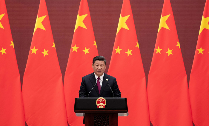 BEIJING, CHINA - APRIL 25: Chinese President Xi Jinping makes a speech during the welcome banquet for leaders attending the Belt and Road Forum at the Great Hall of the People in Beijing on April 26, 2019. (Photo by Nicolas Asfouri - Pool/Getty Images)