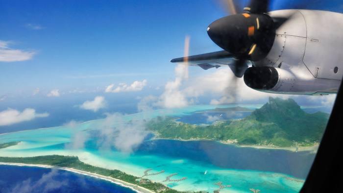 CXRHAM Bora Bora from the plane, Leeward Islands, Society Islands, French Polynesia, Pacific Ocean