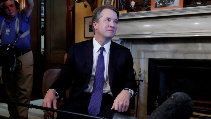 FILE PHOTO: Supreme Court Justice nominee Brett Kavanaugh meets with Sen. Rob Portman (R-OH) at his office in the Russell Senate Office Building in Washington, U.S., July 11, 2018. REUTERS/Leah Millis - RC1F9D3A77D0/File Photo