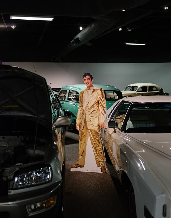 An Elvis Presley cut-out next to an electric Toyota Rav4 at the National Automobile Museum, Reno. Research shows that millennials are just as keen on buying cars as previous generations – and that dealers are still steering buyers towards petrol vehicles