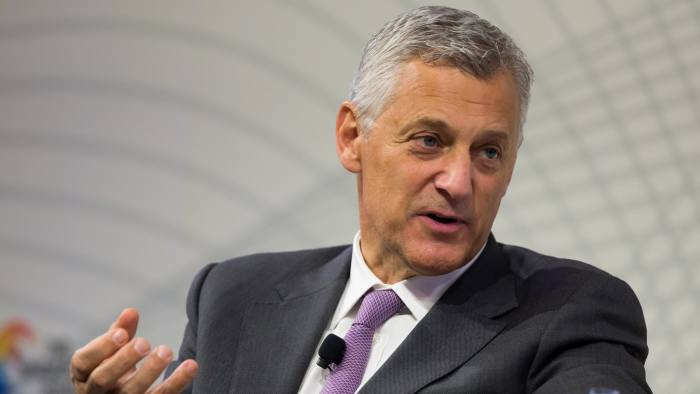 FILE: Bill Winters, chief executive officer of Standard Chartered Plc., speaks at the Singapore Summit 2016 in Singapore, on Saturday, Sept. 17, 2016. Deutsche Bank AG is considering candidates to potentially replace Chief Executive Officer John Cryan amid heightened tensions between him and Supervisory Board Chairman Paul Achleitner, the Times of London reported without saying where it got the information. The bank approached Richard Gnodde, the head of Goldman Sachs Group Inc.'s international operations, but he's thought to have spurned the overture, the newspaper said. Deutsche Bank also considered UniCredit SpA CEO Jean Pierre Mustier and Standard Chartered Plc CEO Winters, according to the report. Our editors select the best archive images for the Deutsche story. Photographer: SeongJoon Cho/Bloomberg