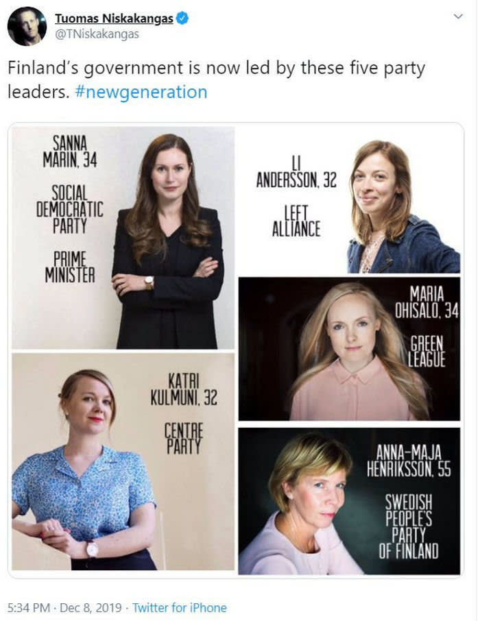 Tweet from Alexander Stubb - My party is not in government, but I rejoice that the leaders of the five parties in government are female. Shows that #Finland is a modern and progressive country. The majority of my government was also female. One day gender will not matter in government. Meanwhile pioneers. Finland - Twitter Finland,Politics, women