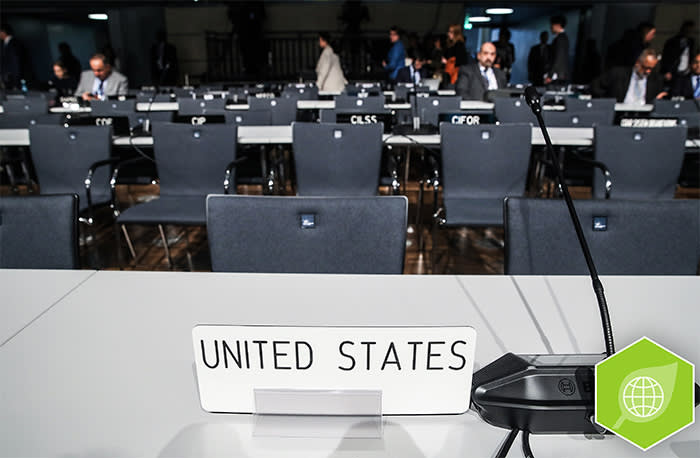 BONN, GERMANY - NOVEMBER 06: A sign deignates the desk of the delegation from the United States at the opening of the COP 23 United Nations Climate Change Conference on November 6, 2017 in Bonn, Germany. The conference brings together 25,000 participants to discuss climate change-related issues and the progress signatory members are making towards fulfilling CO2 and other pollutants reductions. Many signatories of the Paris Agreement are failing to fulfill their commitments towards combating the global temperature rise. (Photo by Sean Gallup/Getty Images)