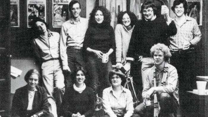 Marie Colvin and fellow staff of the Yale Daily News Magazine in 1977