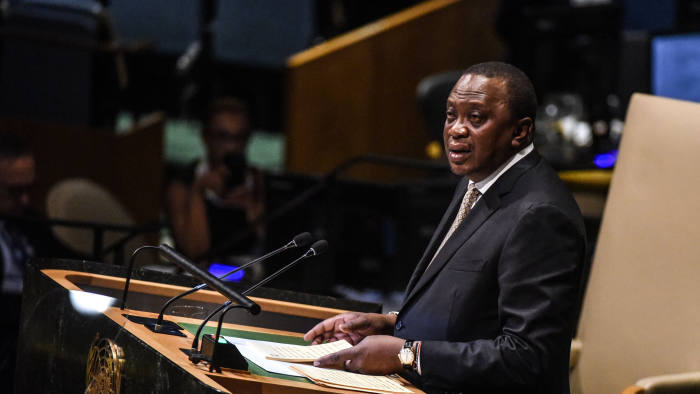 NEW YORK, NY - SEPTEMBER 26:  Kenyan President Uhuru Kenyatta delivers a speech at the United Nations General Assembly on September 26, 2018 in New York City. World leaders are gathered for the 73rd annual meeting at the UN headquarters in Manhattan.  (Photo by Stephanie Keith/Getty Images)