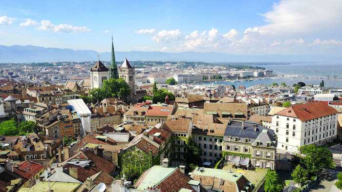 Geneva's Old Town with a view to St Peter's Cathedral