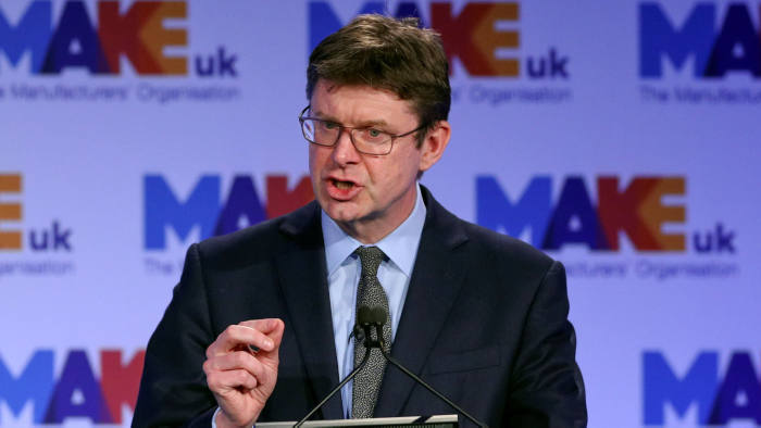 Britain's Secretary of State for Business Greg Clark gives a speech at the EEF National Manufacturing conference, in London, Britain, February 19, 2019. REUTERS/Hannah McKay