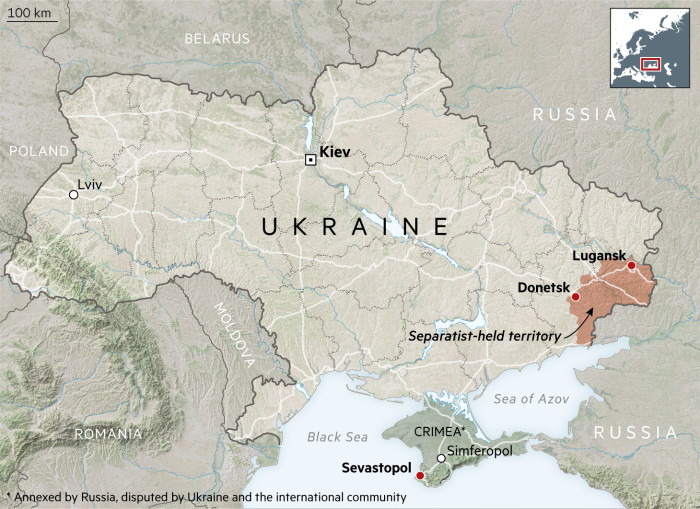 Ukraine And Russia Map.Ukraine On The Front Line Of Europe S Forgotten War Financial Times