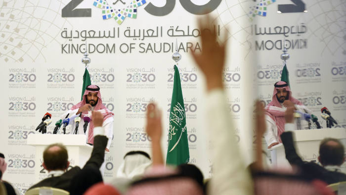 "Saudi Defense Minister and Deputy Crown Prince Mohammed bin Salman answers questions during a press conference in Riyadh, on April 25, 2016. The key figure behind the unveiling of a vast plan to restructure the kingdom's oil-dependent economy, the son of King Salman has risen to among Saudi Arabia's most influential figures since being named second-in-line to the throne in 2015. Salman announced his economic reform plan known as ""Vision 2030"". / AFP / FAYEZ NURELDINE (Photo credit should read FAYEZ NURELDINE/AFP/Getty Images)"