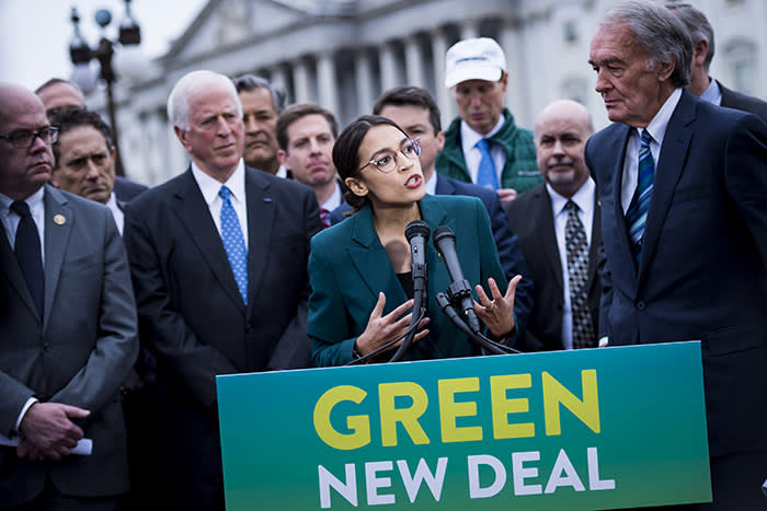 FILE -- Rep. Alexandria Ocasio-Cortez (D-N.Y.) speaks alongside Sen. Ed Markey (D-Mass.) at a news conference about the Green New Deal, in Washington, Feb. 7, 2019. New York lawmakers have agreed to pass a sweeping climate plan that calls for the state to all but eliminate its greenhouse gas emissions by 2050. (Pete Marovich/The New York Times) Credit: New York Times / Redux / eyevine For further information please contact eyevine tel: +44 (0) 20 8709 8709 e-mail: info@eyevine.com www.eyevine.com