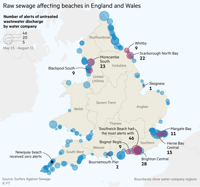 Show Map Of England.Uk Beaches Hit By Record Number Of Sewage Spills This Summer