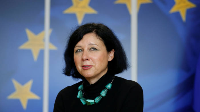 European Justice, Consumers and Gender Equality Commissioner Vera Jourova speaks during an interview with Reuters at the EU Commission headquarters in Brussels, Belgium, September 11, 2017. Picture taken September 11, 2017 REUTERS/Francois Lenoir