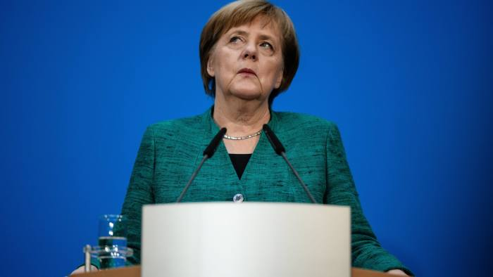 epa06502949 German Chancellor and Chairwoman of the Christian Democratic Union (CDU), Angela Merkel, during a press conference following coalition talks held at the CDU headquarters Konrad-Adenauer-Haus, in Berlin, Germany, 07 February 2018. The leaders of the Christian Democratic Union of Germany (CDU), the Christian Social Union (CSU) from Bavaria and Social Democratic Party (SPD) have been conducting coalition talks to form a new government, four months after the general election in September 2017. EPA/CLEMENS BILAN