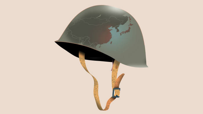 Illustration by Luis Grañena of a soldier's helmet with a map of East Asia