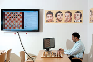 Anand at the Chess Tigers Training Centre in Bad Soden