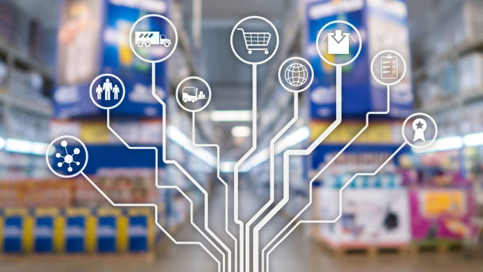 Retail concept marketing channels E-commerce Shopping automation on blurred supermarket background