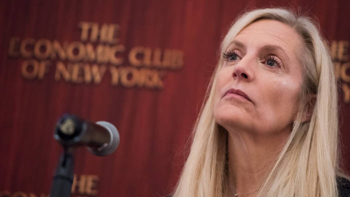 Lael Brainard, governor of the U.S. Federal Reserve, listens during an event sponsored by the Economic Club of New York in New York, U.S., on Tuesday, Sept. 5, 2017. Brainard warned that damage from Hurricane Harvey will impact U.S. monthly payroll data in the short term. Photographer: Mark Kauzlarich/Bloomberg