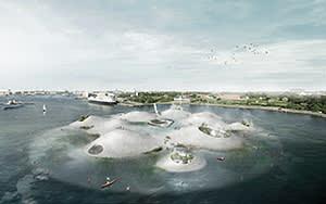 CGI of Tredje Natur's proposed House of Water design in Copenhagen