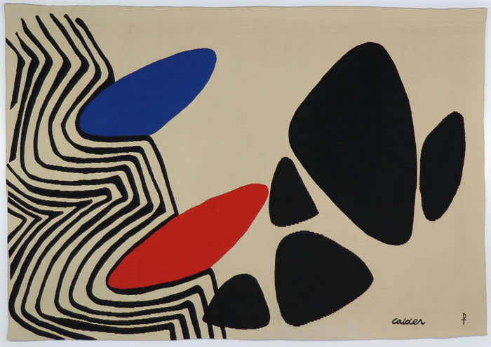 Alexander Calder's 'Blue and Red Nails'tapestry (1975) at Portuondo Gallery