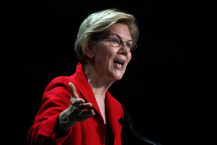 US senator and Democratic presidental hopeful Elizabeth Warren speaking at the California Democrats 2019 state convention earlier this month. Six Democratic women are running; a policy-packed agenda recently saw Warren surge to third place in the polls, with Harris in fifth
