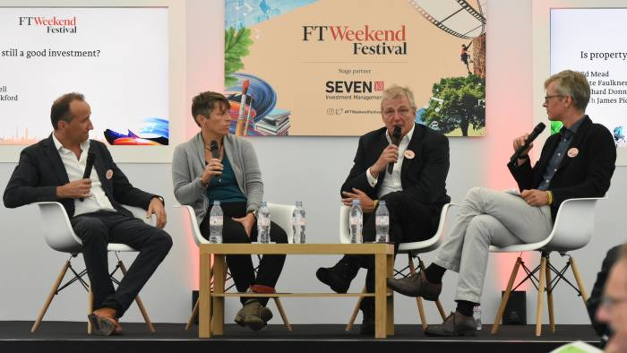 FT Festival, left to right: Richard Donnell, Hometrack; Kate Faulkner, Designs on Property; Ed Mead, Viewber; and James Pickford, deputy editor FT Money