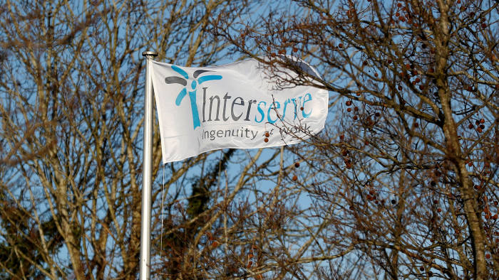 FILE PHOTO: The Interserve logo is seen on a flag at Interserve offices in Twyford, Britain January 17, 2018.  REUTERS/Peter Nicholls/File Photo