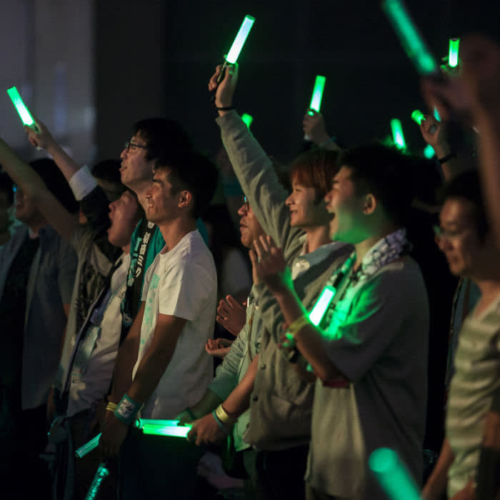 Fans at a Hatsune Miku concert in Chiba, Japan in 2017